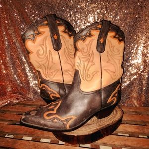 Sonora Double H orange and brown leather boots size 9.5